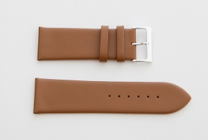 Leather Watch Strap, Brown, Silver Buckle, 26mm
