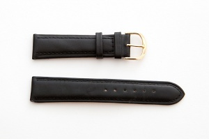 Leather Watch Strap, Black, Silver Buckle, 20mm