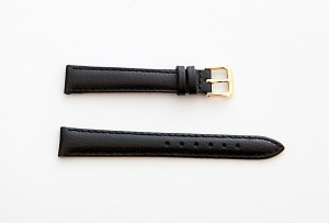 Leather Watch Strap, Black, Gold Buckle, 14mm