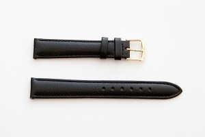 Leather Watch Strap, Black, Gold Buckle, 16mm