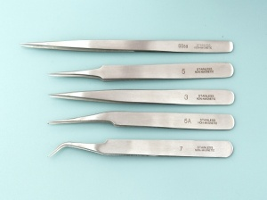Tweezers Anti-Magnetic Stainless Steel - Set of 5