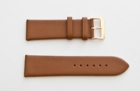 Leather Watch Strap, Brown, Gold Buckle, 24mm